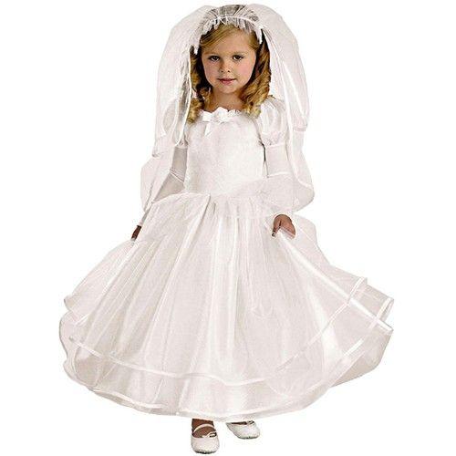 Girls Halloween Costume Bride Dress Toddler 2T Fancy Fairy Tale Veil Deluxe