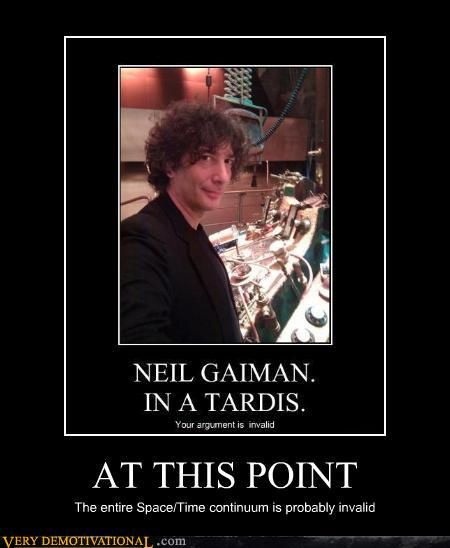 Neil Gaiman. In a TARDIS. Met him and asked about that...was awesome.