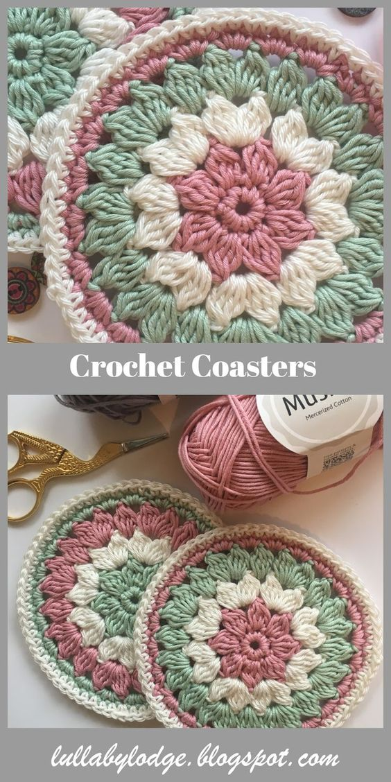A last minute gift for Mum.  Pretty crochet coasters, a free pattern suitable for beginners.  These would make lovely Valentines or Mothers Day gifts.  Quick and easy to make you won't be able to stop at just one... #crochetcoaster #crochetcoasterpattern #freepattern #crochetmandala #mothersdaygift #handmadegift #crochetgift #crochettablemat #crochetmugrug