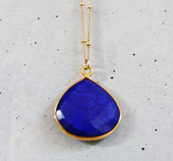 Blue Lapis Lazuli Heart Bezel Necklace - Kei Jewelry - A unique blend of fun, classy and chic: