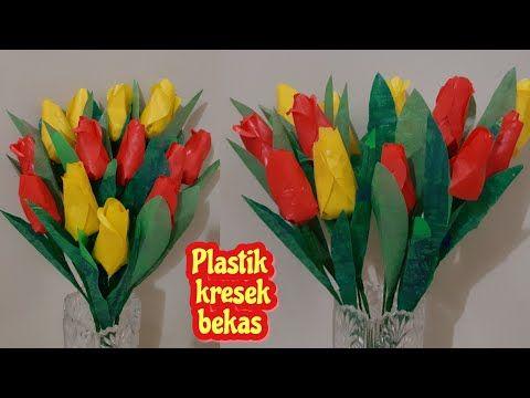 Cara Membuat Bunga Tulip Dari Plastik Kresek Diy How To Make Plastic Tulips Flower Youtube Flower Making Diy Flowers Tulips Flowers