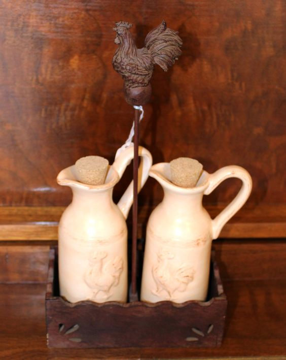 Rooster Provence Ceramic Country Kitchen Vinegar & Oil Bottle with Holder