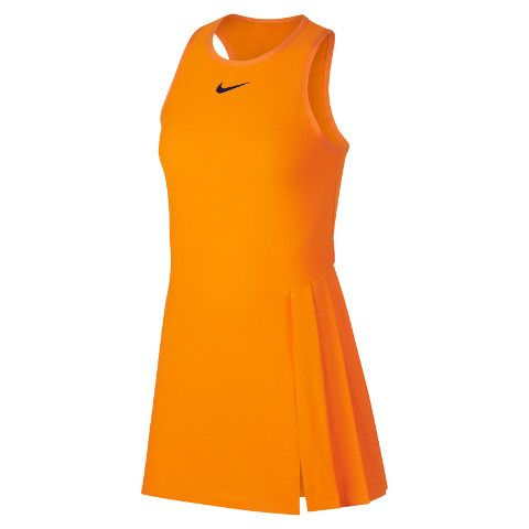 Sloane Stephens Shows Orange Nike Dress Ready For Us Open Title Defense Women S Tennis Blog Nike Dresses Tennis Dress Tennis Clothes