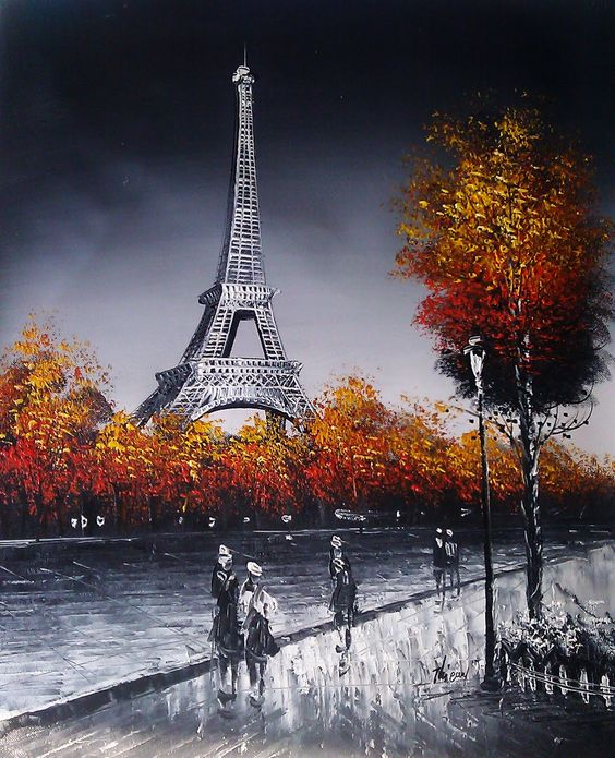 paris painting eiffel tower paris pinterest tours peinture de paris et artistes. Black Bedroom Furniture Sets. Home Design Ideas