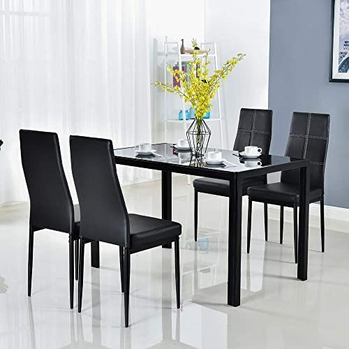 New Bonnlo 5 Pieces Dining Set Black Dining Table Chairs Set 4 Persons Kitchen Room Glass Table 4 Chairs Online Theeasytopbuy In 2020 Modern Dining Room Set Dining Sets Modern Glass Dining Set