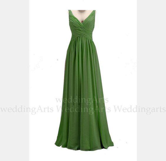Forest Green Bridal Kleid FORMELLE Kleidung chiffon von WeddingArts