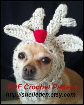 Knitting Pattern For Reindeer Hats For Dogs : PDF Crochet Pattern for Doggie Reindeer Hat for Small ...