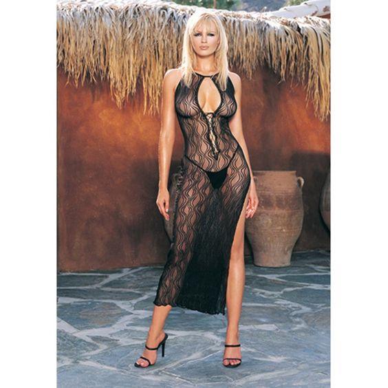 Seduza o seu parceiro ao usar este espectacular vestido longo de renda com padrão ondulado e viva uma noite romântica.