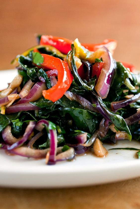 Stir-Fried Swiss Chard and Red Peppers   Recipe   Rainbow Chard, Red ...