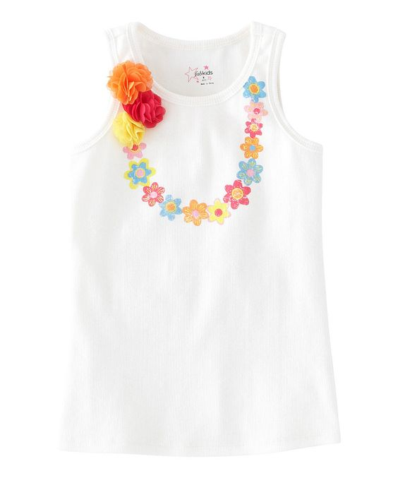 This White Flower Lei Tank - Toddler & Girls by FabKids is perfect! #zulilyfinds. $7.99