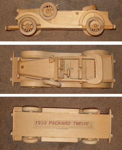 "1933 Packard Twelve Wood Car Model Wooden 16"" Long Kit"