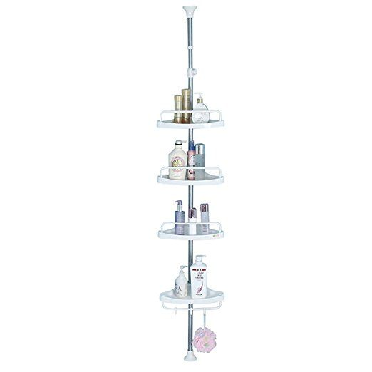 Baoyouni 4 Tier Bathroom Corner Shower Shelf Caddy Rustproof Pole Adjustable Telescopic Tension Rod Storage Rack Corner Shower Caddy Corner Shower Shower Caddy