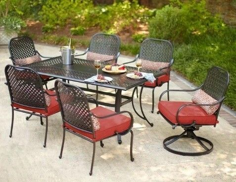 NEW 7 Piece Outdoor Patio Dining Set with Red Steel Cushions & 2 Swivel Chairs