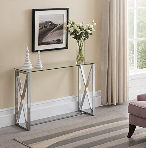 Contemporary Chrome Finish Glass Top Console Sofa Table With Square Designs Table Glass Console Table Sofa Table