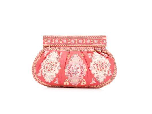 Embroidered Silk Clutch by Moyna