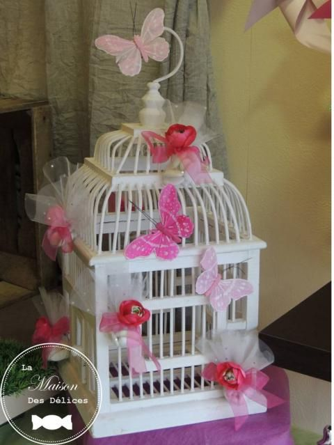 Tulle mariage and papillons on pinterest - Decoration bapteme theme oiseau ...