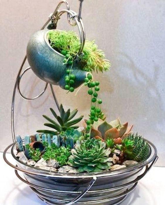 indoor planter with a teapot #gardenIdeas #garden #gardening #plants #homeDecor #indoor