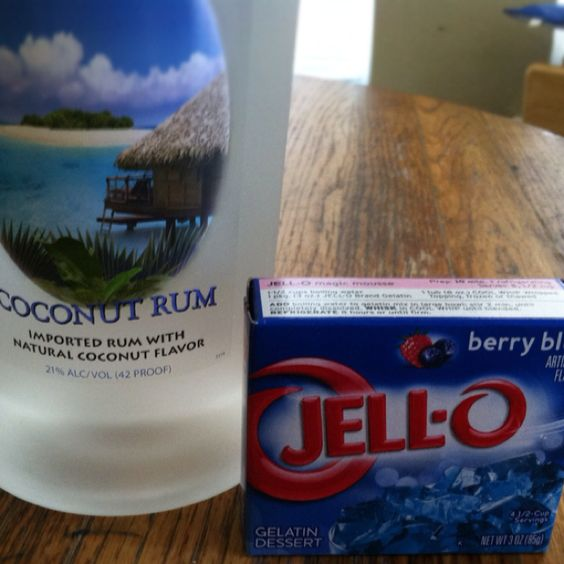 The best jello shots! Coconut rum and berry blue jello. Has lake time written all over it!