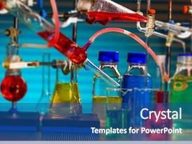 Powerpoint Template With Molecular Chemical Synthesis Of Magnetic Nanoparticles Themed Background And A Ocean Co Powerpoint Templates Powerpoint Ocean Colors