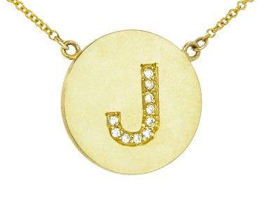 Jennifer Meyer - Diamond Letter Necklace - J - Featured in InStyle.