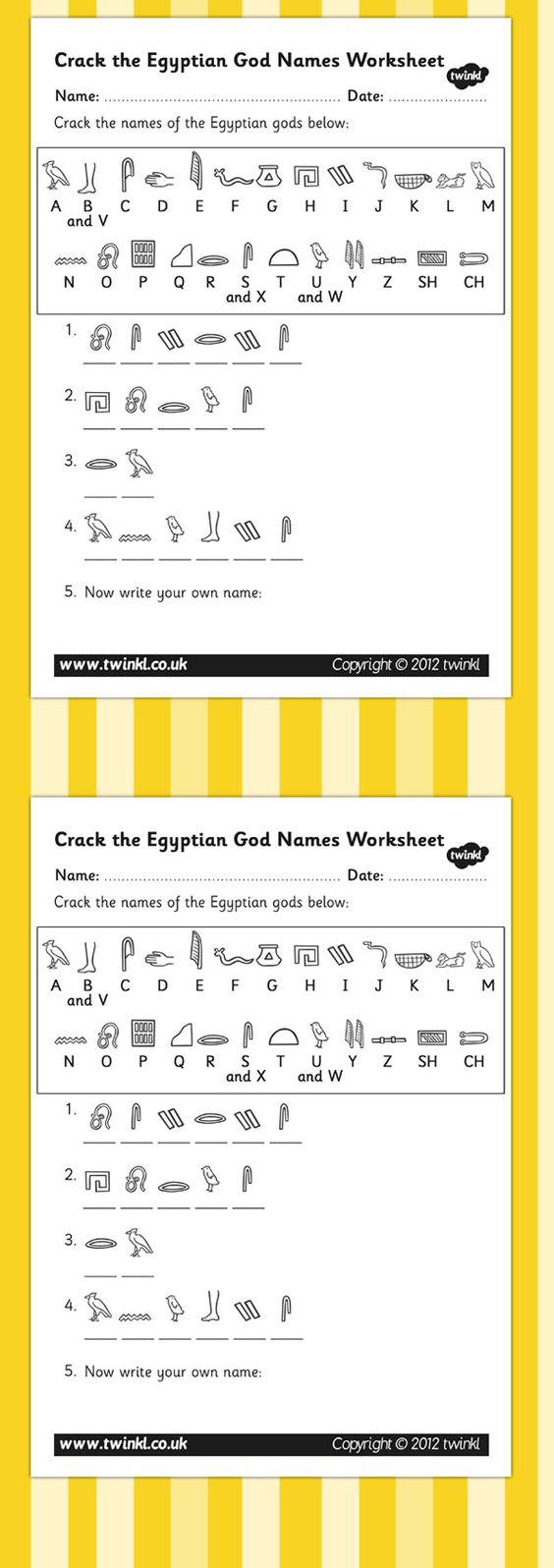 Free Worksheet Hieroglyphics Worksheet ks2 ancient egypt crack the hieroglyphs egyptian gods names worksheets