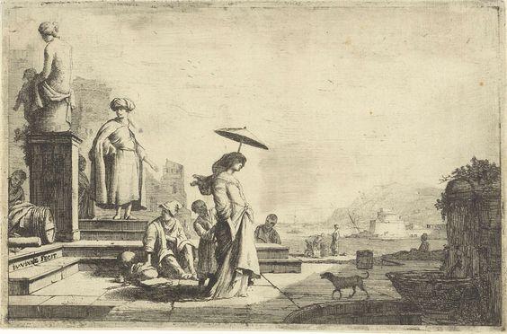 Isaac Vincentsz. van der Vinne | Gezicht op een mediterrane haven, Isaac Vincentsz. van der Vinne, 1690 - 1740 | Gezicht op een mediterrane zeehaven. In het midden staat een vrouw, een dienaar houdt een parasol boven haar hoofd. Links enkele trappen waarop een jongen zit en een man met tulband op het hoofd naast een sokkel met een beeld van een vrouw staat. Links van het piëdestal een jongen bij een ton. Rechts een fontein waarbij een hond.