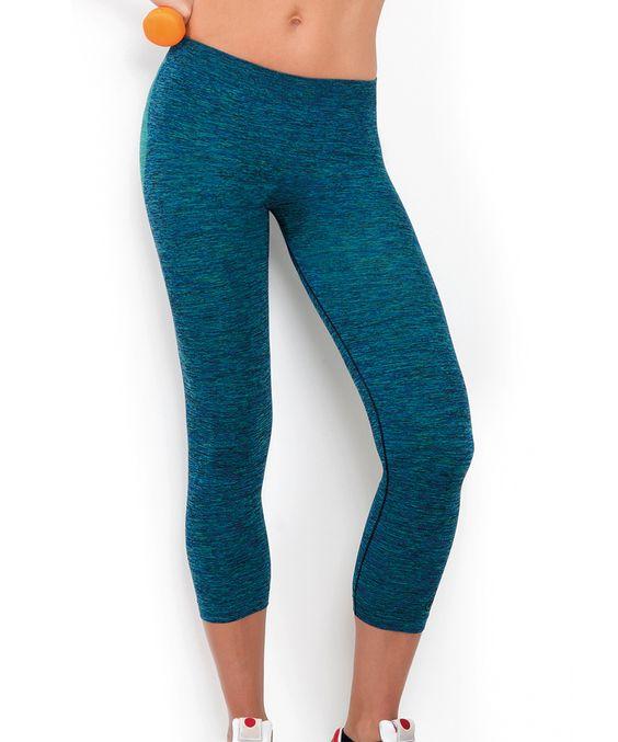Green & Blue Space-Dye Capri Leggings