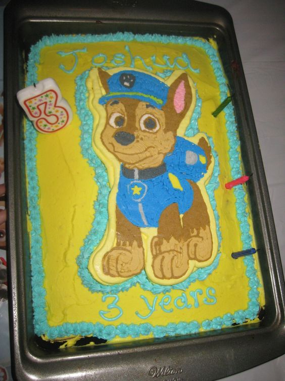 Frozen Buttercream Transfer Of Chase From Paw Patrol Used