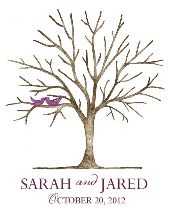 Small (Sarah and Jared) Thumbprint  Wedding Tree Guestbook Small for Up to 150 guests 16'' x 20'' Gallery Wrap Canvas plus Wedding Poem. $140.00, via Etsy.