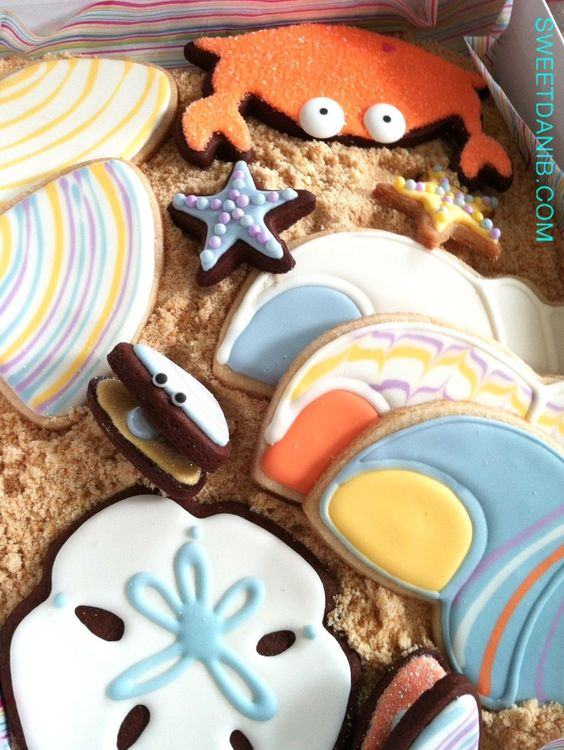 Coastal Cookies - Pack these colorful Coastal Cookies via Sweet Dani B for a delicious day