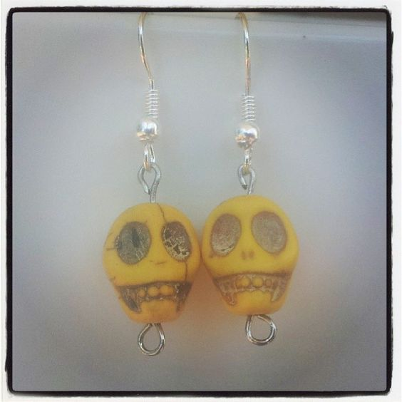 Yellow Skull Earrings $5 Aust. From Rags To Bags on FaceBook.