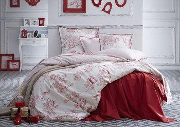 Nouvelle variante pour la toile de Jouy  avec cette parure de lit ÉTERNITÉ Carmin