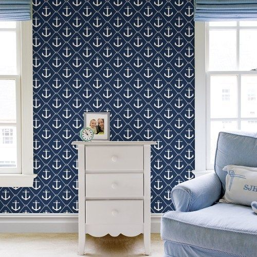 Set Sail Navy Peel And Stick Wallpaper Brewster Nuwallpaper 54 99 Nautical Peel And Stick Wallpaper Anchor Print Wallpaper Easy To Remove Wallpaper