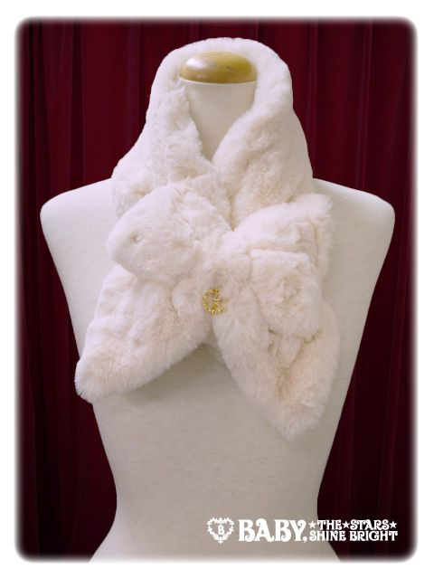 Ribbon and pearl of fur scarf / Ribbon and pearl fur muffler | BABY, THE STARS SHINE BRIGHT