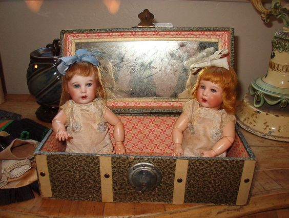 Absolutely Adorable SFBJ 251 Twin Toddlers With Trunk and Xtras