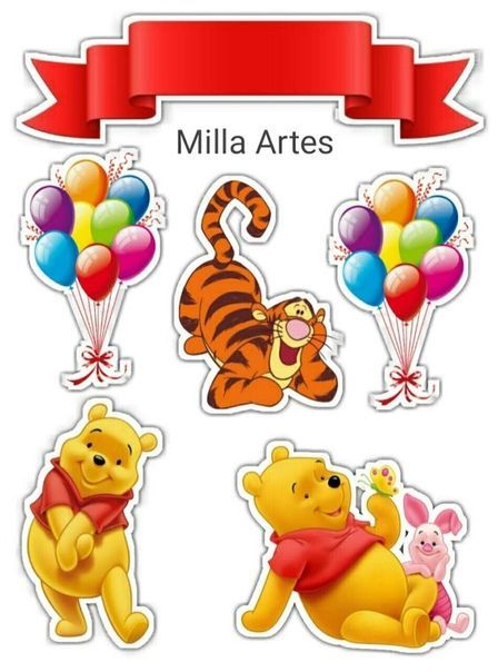 Winnie The Pooh Free Printable Cake Toppers In 2020 Winnie The Pooh Birthday Birthday Cake Topper Printable Winnie The Pooh