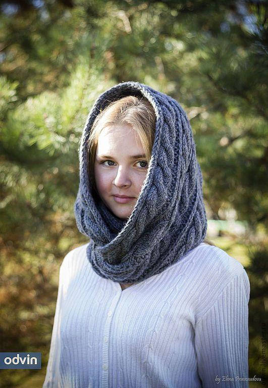 """Купить Шарф-снуд вязаный """"Сладкий октябрь"""" - серый, ольга винокурова, одвин, odvin, шарф"""
