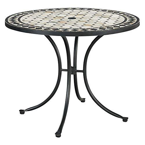 Home Styles Laguna Black Outdoor Marble Patio Dining Table With Umbrella Hole Octagon Marble Tile Top Nylo Patio Dining Table Dining Table Black Patio Dining Round patio table with umbrella hole