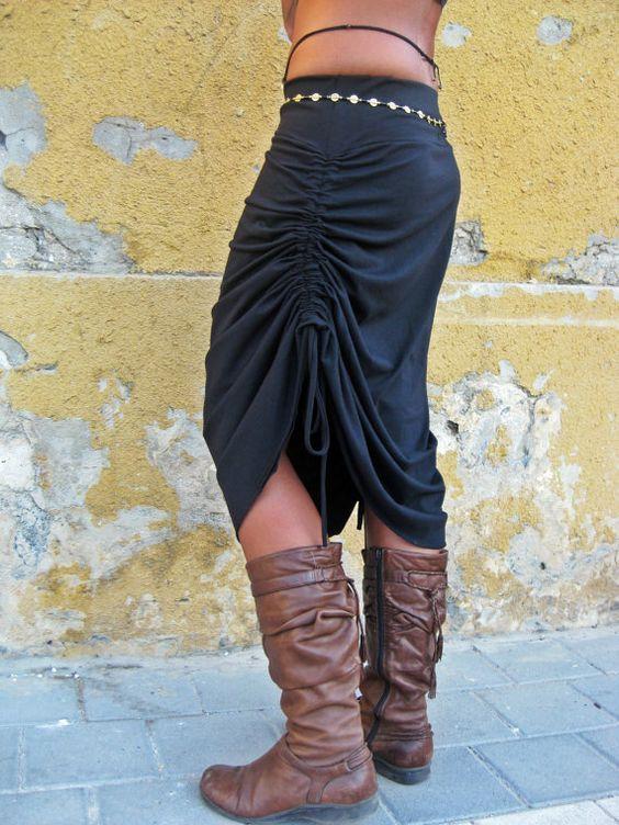 Schwarz verstellbare Rock schwarze Frauen Rock Cabrio von Picarona