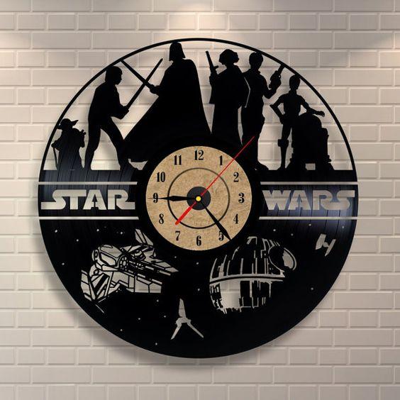 Star Wars wedding gift vinyl wall record clock