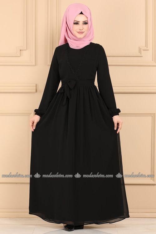 Modaselvim Elbise Kruvaze Detayli Tesettur Elbise 5032ef311 Siyah Wanita