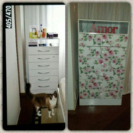 Antes e depois cômoda tecido