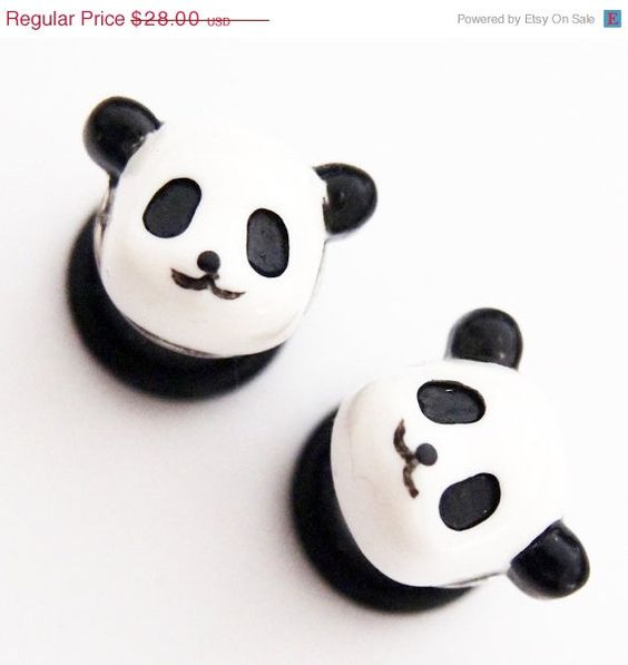 9/16 inch 14mm Panda Acrylic Plugs egl lolita by Glamsquared, $16.80