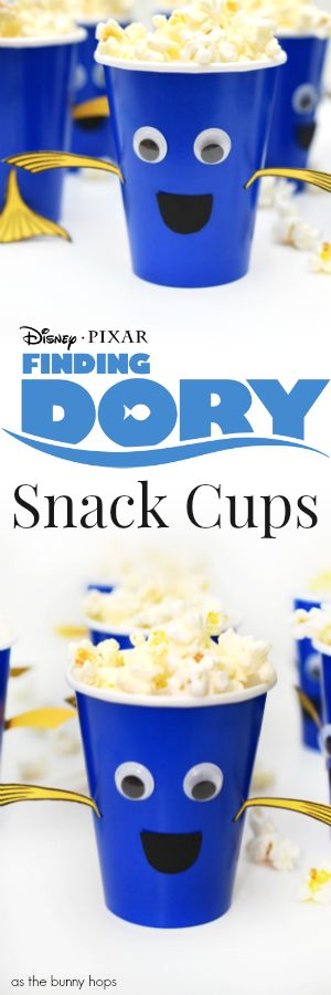 Easy to make Finding Dory Snack Cups. The hardest part is picking your snack! Includes printable for tail and fins!