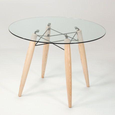 Table ronde design en verre transparent et structure bois Souvenir - 1