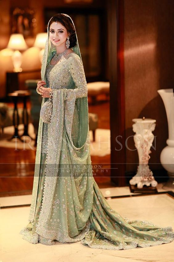 Beautiful! | mint green / pistachio walima or nikah Pakistani lehenga with silver embroidery and tail | irfan ahson photography