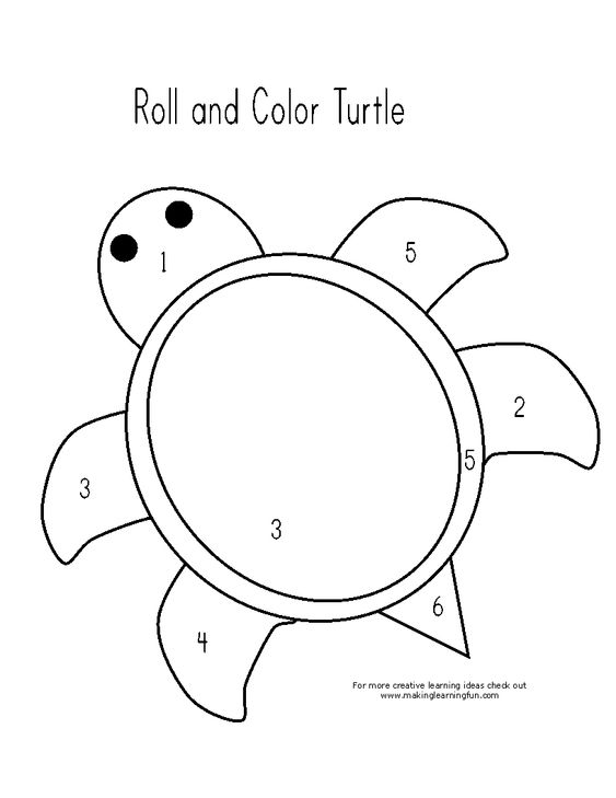 math worksheet : roll and color turtle preschool math worksheet free math  : Free Preschool Math Worksheets