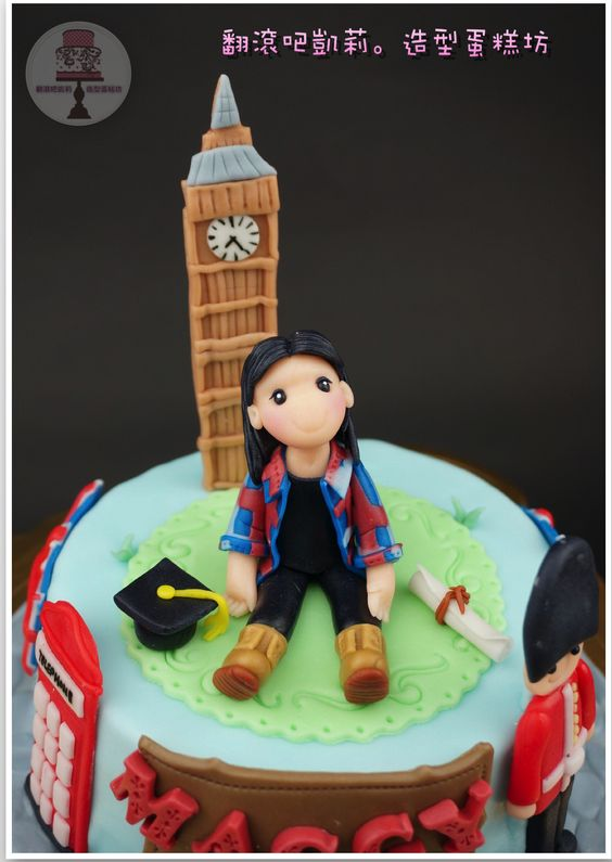 https://www.facebook.com/RollRollKelly #翻糖蛋糕 #杯子蛋糕 #birthday cake #cup cake #英國蛋糕 #大笨鐘 #英國士兵 #畢業