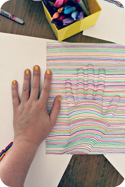 Optical Illusion Handprints - we are so going to try this one today