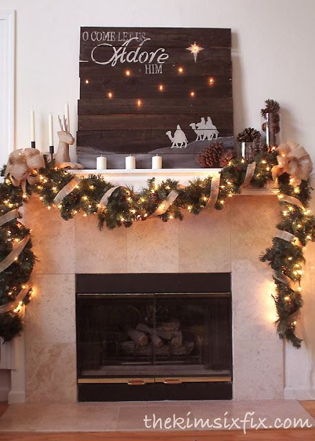 """Oh Come Let Us Adore Him""  Mantel.  Featuring stenciled pallet artwork where the stars actually glow"